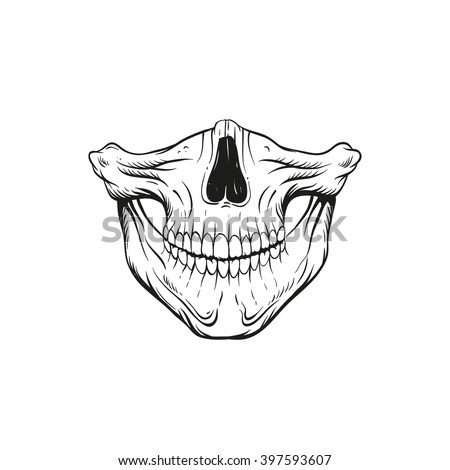 Skull Jaw Sketch Tattoo Design Hand Stock Vector Royalty Free