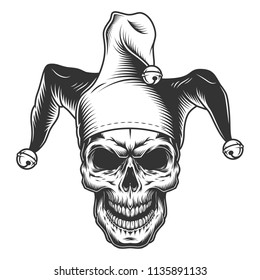 Skull in jester hat. monochrome vector illustration