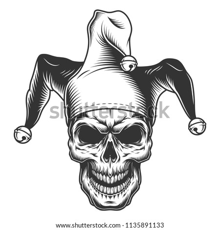 a97bdbbcec3 Skull Jester Hat Monochrome Vector Illustration Stock Vector ...