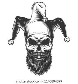 Skull in the jester hat. Vector illustration