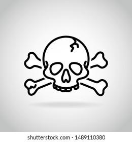 Skull, jolly roger, poison, piracy sign, danger sign, icon vector