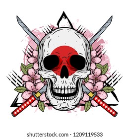 Skull of kamikaze with crossed katanas. Cartoon skull. Vector illustration.