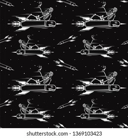 Skull of kamikaze on the rocket seamless pattern. Skeleton riding on air bomb. Black background.