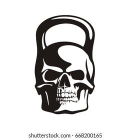 skull kettlebell, vector image