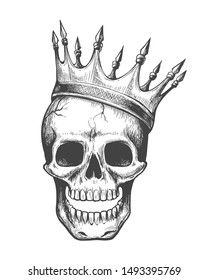Skull king. Evil in crown ink style vector illustration, dead head coronation horror graphic, war face with diadem tattoo image on white