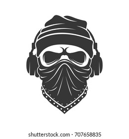 Skull in a knitted cap with headphones and in a bandana. DJ bandit
