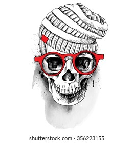 5e5694f555ab Skull in knitted hat with glasses. Vector illustration.