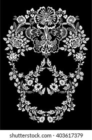 Skull lace ornament. Puff Print