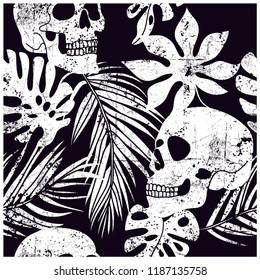 Skull and leaves seamless pattern.Skull,leaf drawing.Vector illustration design for fashion fabrics, textile graphics, prints, wallpapers and other uses.