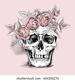 Skull in a light pink Rose head wreath. Vector illustration.