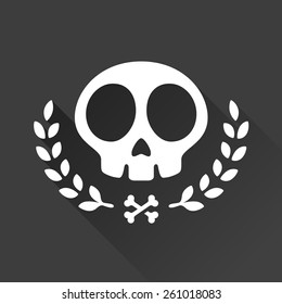 Skull logo illustration with laurel vine accents and crossbones