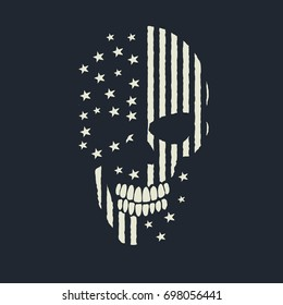 skull logo like the USA flag.Vector prints design for t-shirts or other apparel