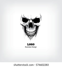 Skull logo linear. Human skull logo