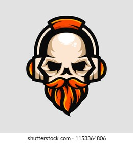 skull logo mascot with headphones