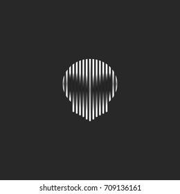 Skull logo striped style grunge illustration spirit shadow. Black and white thin lines phantom head shape on the dark background. Alien face silhouette.