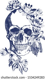 Skull with lotus flowers and fish. Blue on a white background. Typographic graphic print, fashionable pattern for t-shirts.