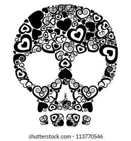 skull of love. Skull with black hearts. vector drawing