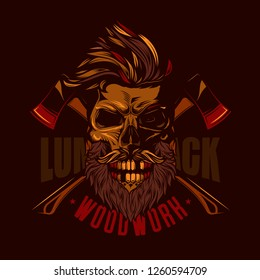 The skull of a lumberjack with beard and mustache in the background of the axes. Original vector illustration in vintage style.
