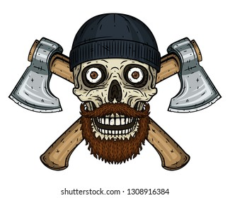 Skull lumberjack with a beard, mustache, black hat  and crossed axes