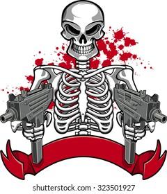 skull with machine guns and banner