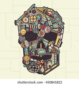 Skull made from a variety of machine parts, appliances, pipes, machinery. Vector illustration. All elements are drawn separately. Texture on a separate layer.
