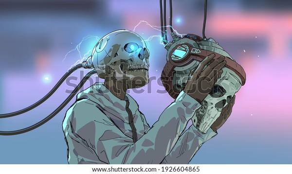 a skull man wearing the futuristic virtual reality headset, vector illustration