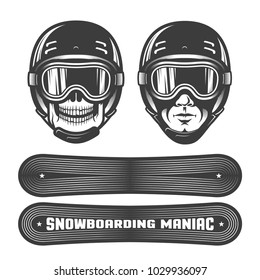 Skull and a man's head in  sports helmet with goggles. Two snowboards with different images. Stamp retro style.