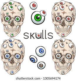 Skull and many eyes
