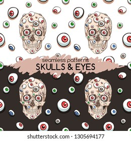 Skull and many eyes. Seamless patterns
