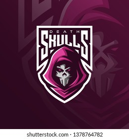 skull mascot logo design vector with modern illustration concept style for badge, emblem and t shirt printing. angry skull illustration for sport team.