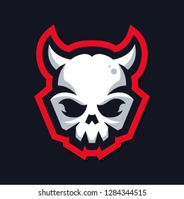 skull mascot logo with horn. for sport, game. e-sports logo vector template