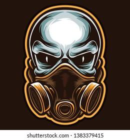 skull mask logo and vector