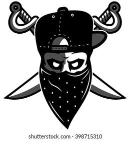 Skull in mask with swords on background logo mascot. Vector illustration. Character design.