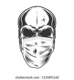 Skull in the medical mask. Vintage vector illustration