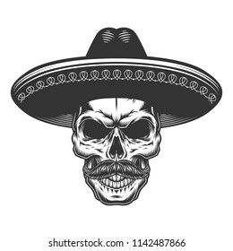 Skull in the mexican sombrero hat. Vector illustration