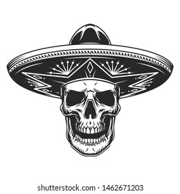 Skull in mexican sombrero hat in vintage monochrome style isolated vector illustration