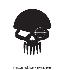 Skull Military sniper with bullet teeth logo icon vector