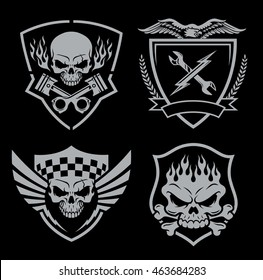 Skull motor crest badge emblem set