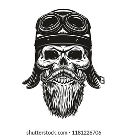 Skull of motorbike racer in leather helmet and goggles with beard and moustache for t-shirt print design. Biker skull or motorcycle rider sketch for tattoo or motor club emblem
