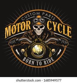 skull Motorcycle badge vector logo design