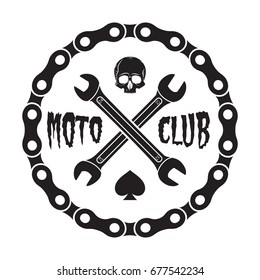 Skull motorcycle club Badge/Label With chain, spade and wrenches. For signage, prints and stamps.