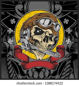 Skull with motorcycle helmet biting the wrench - Vector