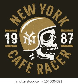 Skull and motorcycle helmet. Cafe racer slogan typography for t shirt design. T-shirt print graphics on the theme of motorcycle