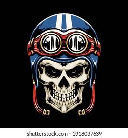 skull motorcycle helmet vector illustration