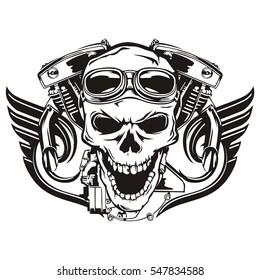 Skull motorcycle machine wings