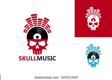 Skull Music Logo Template Design Vector, Emblem, Design Concept, Creative Symbol, Icon