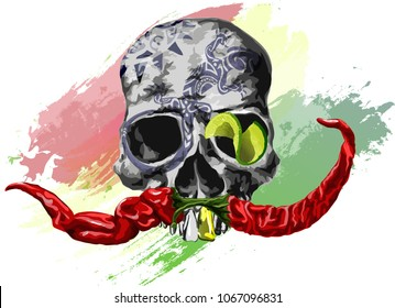 skull with a mustache of red peppers