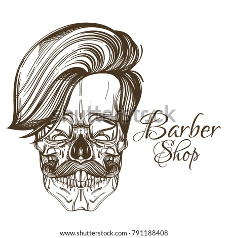 Skull Mustache Stylish Haircut Logo Barber Stock Vector Royalty