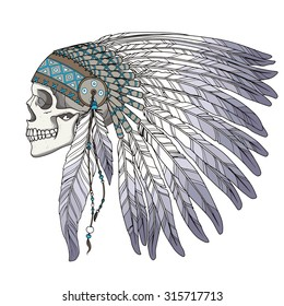 Skull in native american indian chief headdress