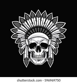 Skull of Native American Indian Warrior. Black Background Vector